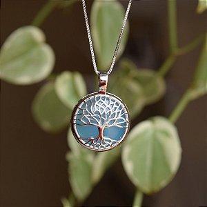Colar árvore da vida p pedra natural ágata azul céu ródio semijoia