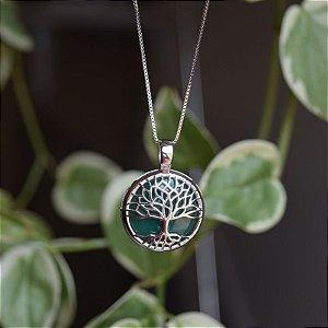 Colar árvore da vida p pedra natural ágata verde ródio semijoia