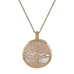 Colar árvore da vida g pedra natural quartzo rosa ouro semijoia