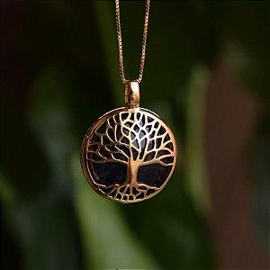 Colar árvore da vida g pedra natural sodalita ouro semijoia