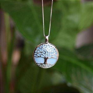 Colar árvore da vida g pedra natural opalina ródio semijoia