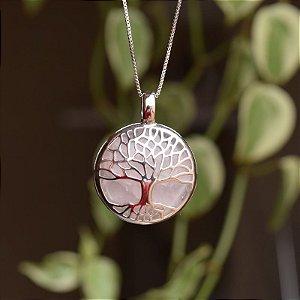 Colar árvore da vida g pedra natural quartzo rosa ródio semijoia