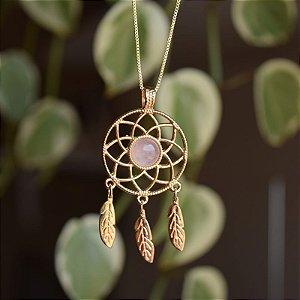 Colar filtro dos sonhos pedra natural quartzo rosa ouro semijoia