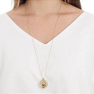 Colar Chamador de Anjo flor de lótus pedras naturais ouro semijoia