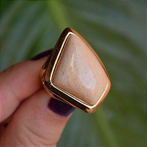 Anel geométrico pedra natural amazonita bege ouro semijoia