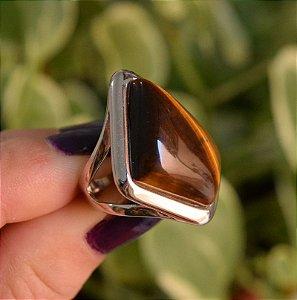 Anel geométrico pedra natural olho de tigre ródio semijoia