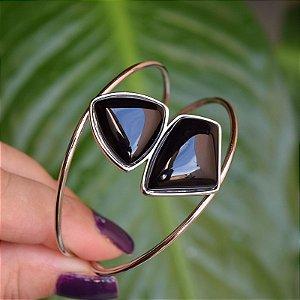 Bracelete pedra natural geométrico ágata preta ródio semijoia