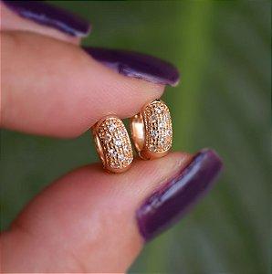 Brinco argolinha zircônia ouro semijoia 19A09035