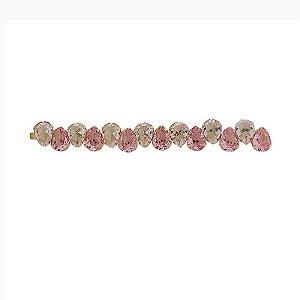 Grampo metal dourado cristal gota cristal rosa