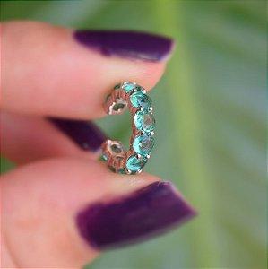 Piercing de encaixe zircônia azul claro ródio semijoia