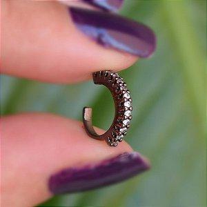 Piercing de encaixe zircônia cristal ródio negro semijoia