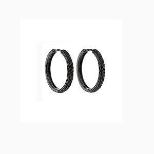 Brinco argola metal texturizado ródio negro semijoia