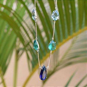 Colar gota cristais verde e azul ródio semijoia