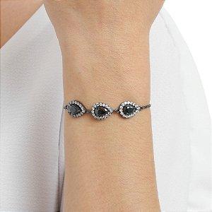 Pulseira gravata zircônia cristal gota black ródio negro semijoia ref 1356