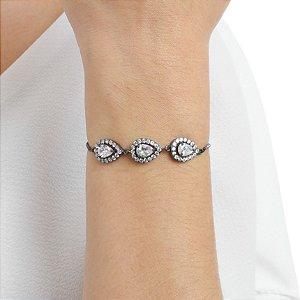 Pulseira gravata zircônia cristal gota ródio negro semijoia ref 1356