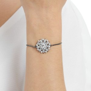 Pulseira gravata mandala zircônia cristal gota ródio negro semijoia ref 1113