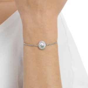 Pulseira gravata zircônia cristal ródio semijoia ref 1335