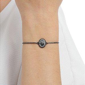 Pulseira gravata zircônia cristal ródio negro semijoia ref 1335