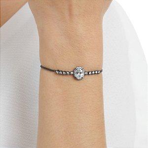Pulseira gravata zircônia oval cristal ródio negro ref 0146