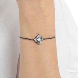 Pulseira gravata losango zircônia cristal ródio negro semijoia ref 1258