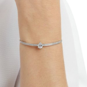 Pulseira gravata zircônia cristal gota ródio semijoia ref 1391