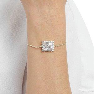 Pulseira gravata zircônia cristal retangular ouro semijoia ref 1190