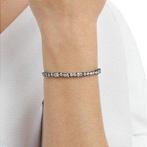 Pulseira gravata zircônia cristal ródio negro ref 1127