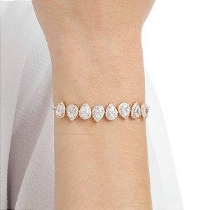Pulseira gravata zircônia cristal gota ouro rosê semijoia ref 0910