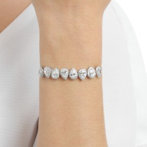 Pulseira gravata zircônia cristal gota ródio semijoia ref 0910