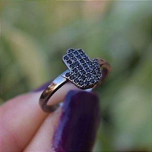 Anel Mão de Fátima zircônia black ródio negro semijoia