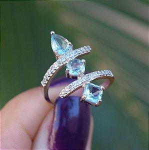 Anel cristal azul zircônia cristal ródio semijoia