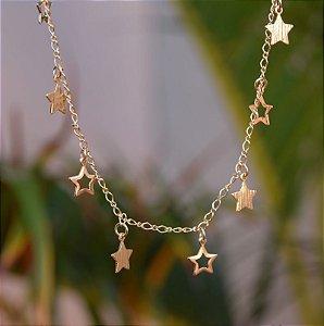 Colar estrelas ouro semijoia