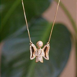 Colar Anjo da Guarda zircônia ouro semijoia