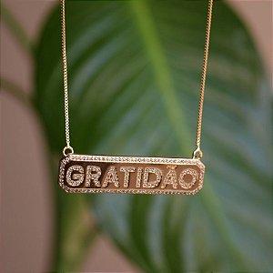 Colar placa Gratidão zircônia ouro semijoia