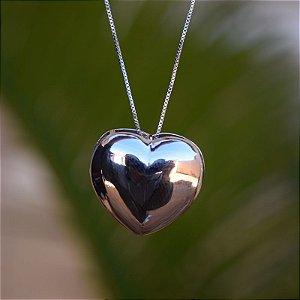 Colar coração ródio semijoia