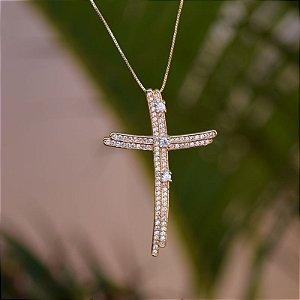 Colar crucifixo dupla zircônia ouro semijoia