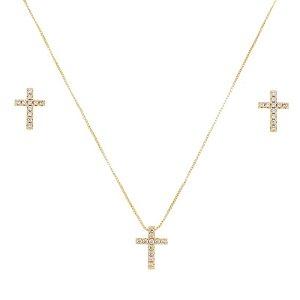 Colar e brinco crucifixo zircônia ouro semijoia
