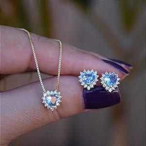 Colar e brinco coração cristal azul ouro semijoia
