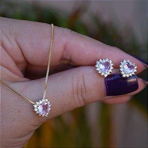 Colar e brinco coração cristal rosa ouro semijoia