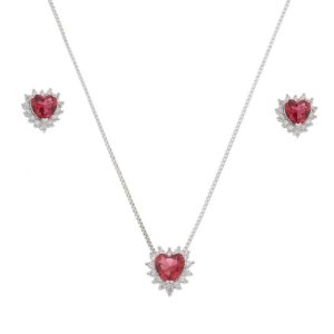 Colar e brinco coração vermelho cristal zircônia ródio semijoia