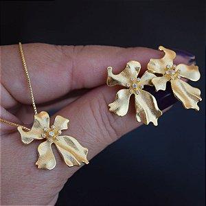 Colar e brinco flor zircônia ouro semijoia