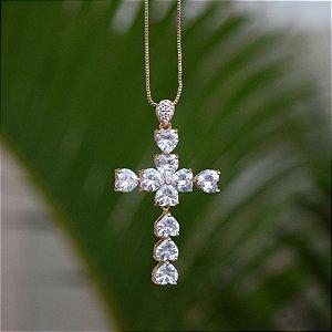 Colar crucifixo cristal zircônia ouro semijoia