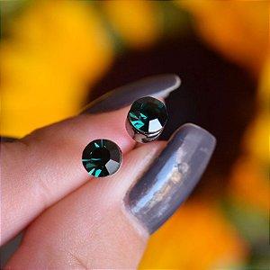 Brinco redondo Leticia Sarabia cristal verde