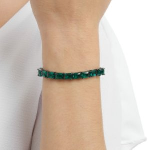 Pulseira gravata cristal verde ródio negro semijoia