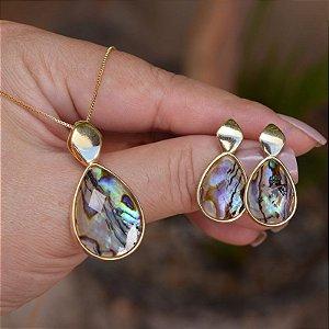 Colar e brinco gota pedra natural abalone ouro semijoia