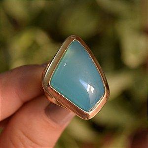Anel geométrico pedra natural ágata azul céu ouro semijoia
