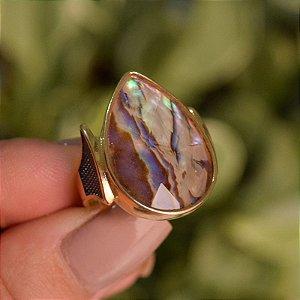 Anel gota pedra natural abalone ouro semijoia