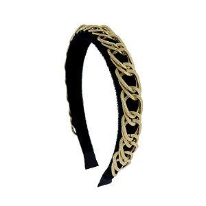 Tiara veludo preto com metal dourado