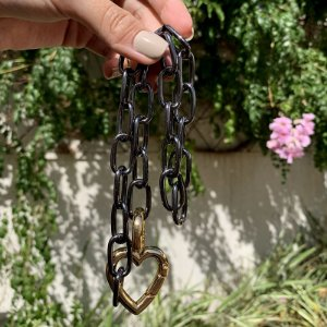 Colar elos corrente coração ródio negro e ouro