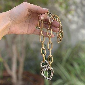 Colar elos corrente coração ouro e ródio